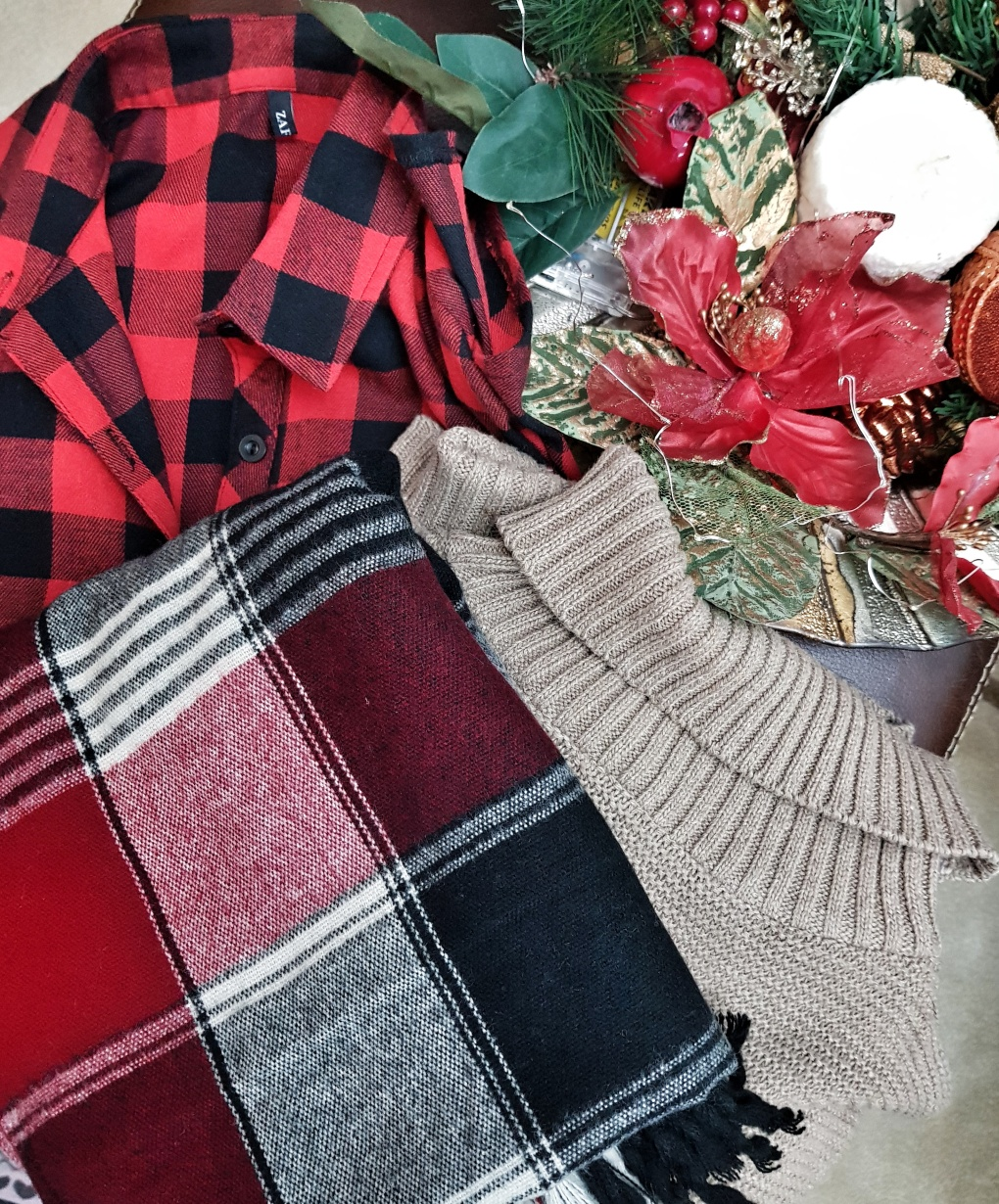 Plaid_scarf_dress_sweater_zaful