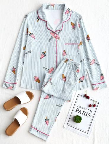 cute_icecreamprint_pajamas_set_zaful