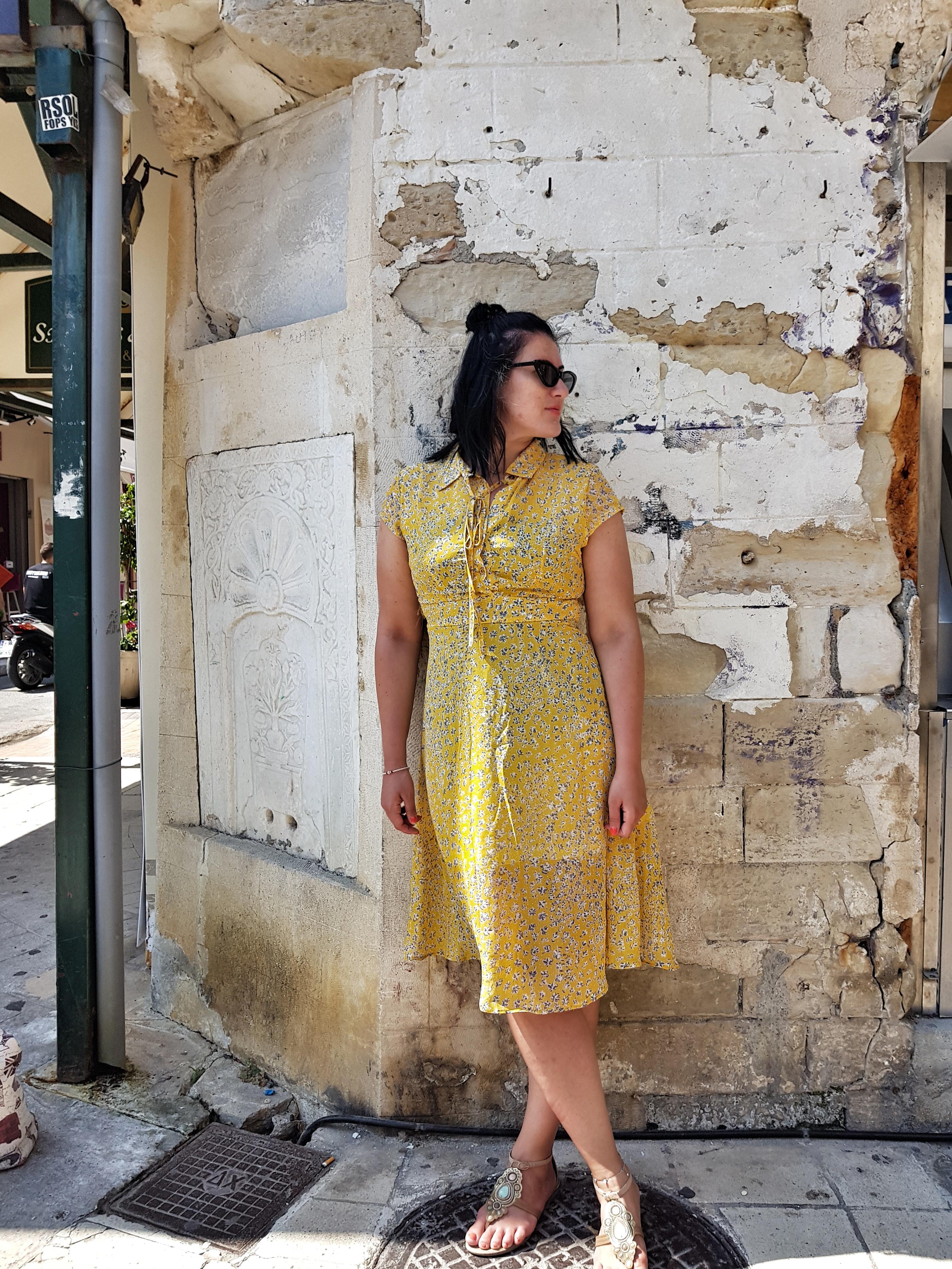 floral_print_yellow_dress_zaful_island_crete_review