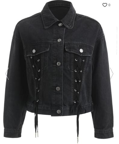 rosegal_black_laceup_denim_jacket