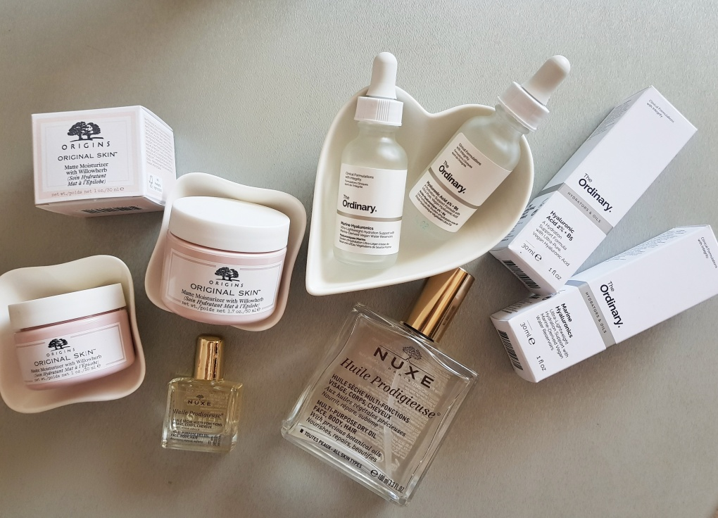 theordinaryproducts_The Ordinary Hyaluronic Acid 2% + B5_The Ordinary Marine Hyaluronics_Origins Original Skin™ Matte Moisture Perfector_NUXE Huile Prodigieuse Multi-Usage Dry Oil